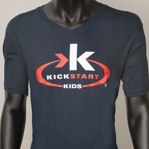 Perfect Weight Navy Blue V-Neck KSK Logo T-Shirt