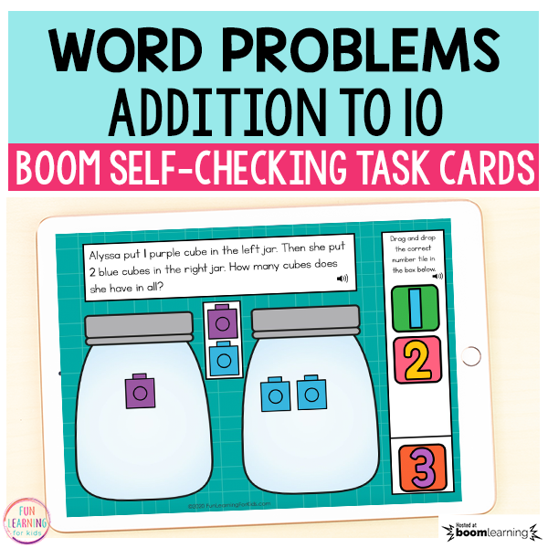 Addition to 10 Word Problems Boom Cards™ | Digital Task Cards