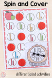 Differentiated Apple Spin and Cover Math and Literacy Activities