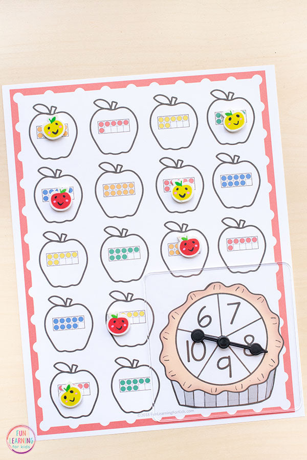 Differentiated Apple Spin and Cover Math Activities