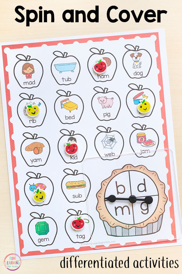 Differentiated Apple Spin and Cover Literacy Activities