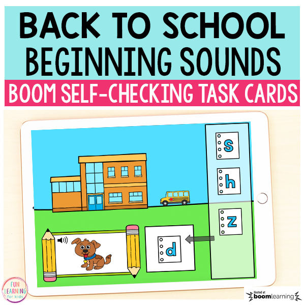 Back to School Beginning Sounds Match-Up Boom Cards™ | Digital Task Cards