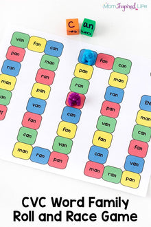 CVC Word Family Roll and Race Game
