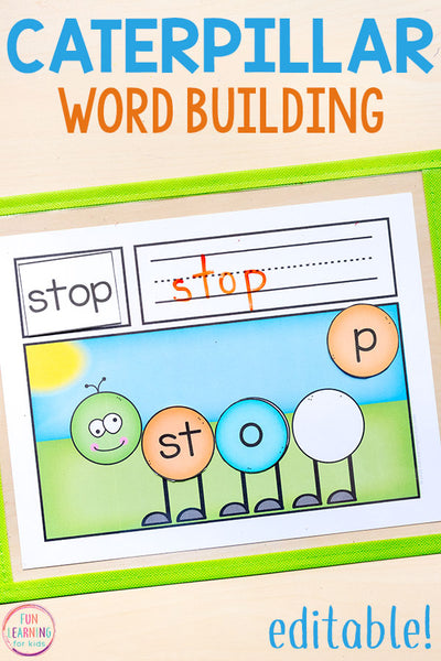 Editable Caterpillar Word Building Mats