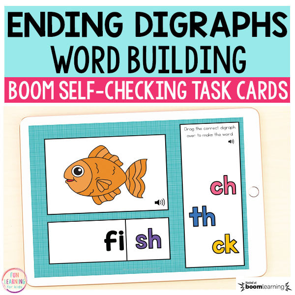 Ending Digraphs Word Building Boom Cards™ | Digital Task Cards