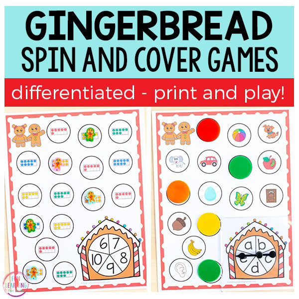 Differentiated Gingerbread Spin and Cover Math and Literacy Activities