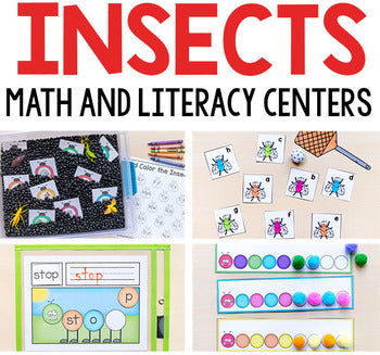 Insect Theme Math and Literacy Printables for Pre-K and Kindergarten