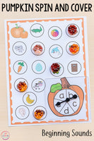 Differentiated Pumpkin Spin and Cover Literacy Activities