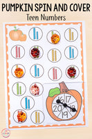 Differentiated Pumpkin Spin and Cover Math Activities
