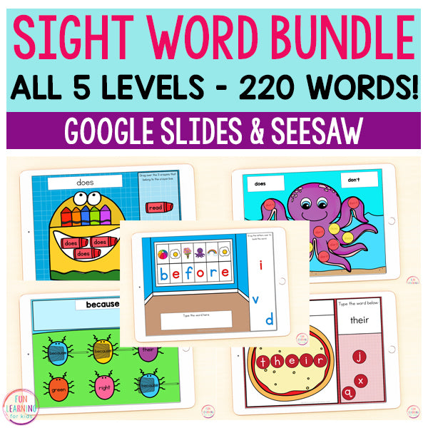 Sight Word Games Mega Bundle | 5 Activities - Pre-Primer through Third Grade | Google Slides and Seesaw