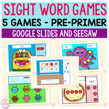 Sight Word Games | 5 Activities - Pre-Primer | Google Slides and Seesaw