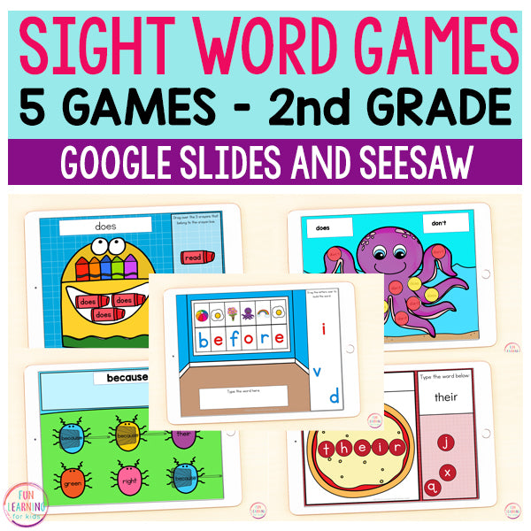 Sight Word Games | 5 Activities - Second Grade | Google Slides and Seesaw
