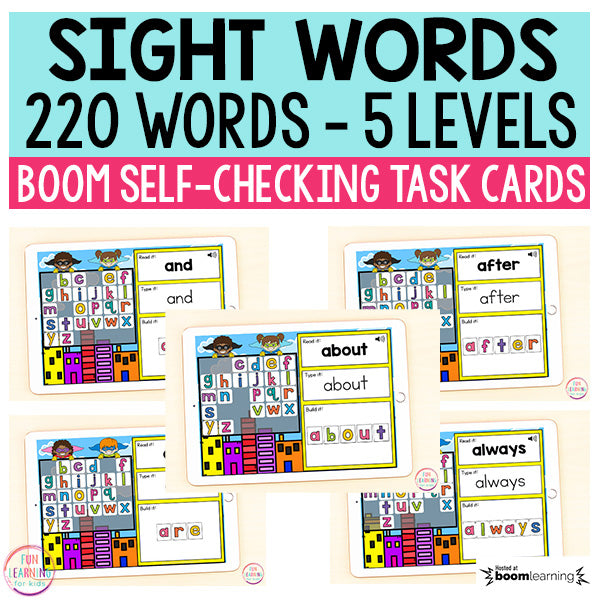 Superhero Sight Words Boom Cards™ Bundle | 220 Sight Words | Digital Task Cards