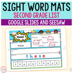 Superhero Sight Word Mats Second Grade - Google Slides & Seesaw
