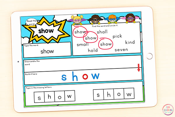 Superhero Sight Word Mats Bundle | 220 Sight Words | Google Slides and Seesaw