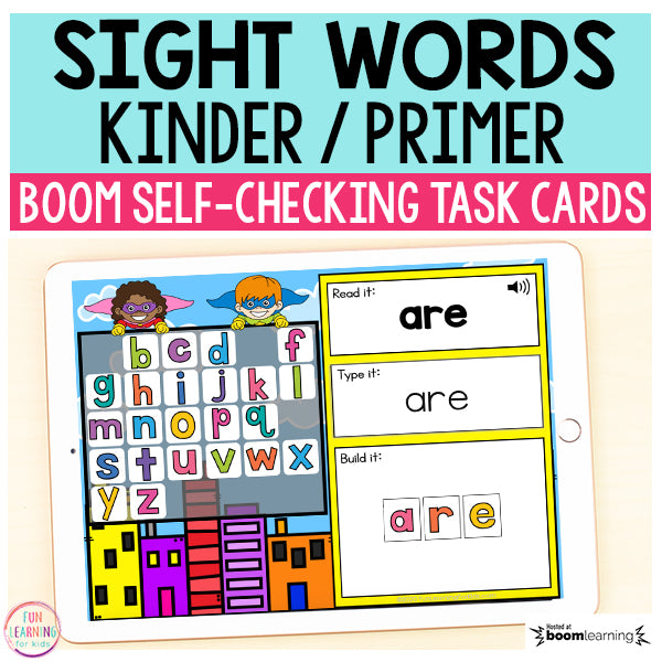Superhero Sight Words Primer / Kindergarten Boom Cards™ | Digital Task Cards