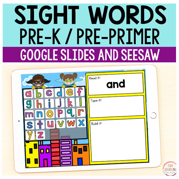 Superhero Sight Words Pre-Primer / Pre-K - Google Slides & Seesaw