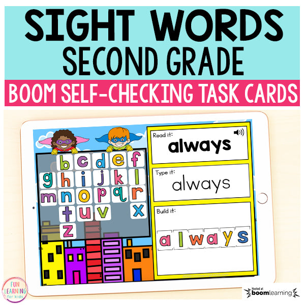 Superhero Sight Words Second Grade Boom Cards™ | Digital Task Cards