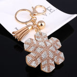 2018 New Fashion Women Casual Pu Leather Tassel Snow Flower Keychain Bag Pendant Gold Car Key Chain Ring Holder Trendy Jewelry