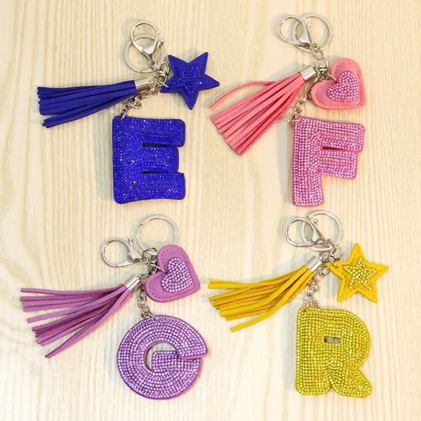 Love Heart Flower Letter Keychain Women Crystal Key Ring Handbag Pendant Charms Tassel Silver Chain Bag Holder Key Chain Jewelry