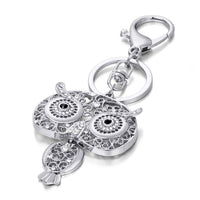 Owl Keychain Gold Silver Key Holder Metal Crystal Key Chain Keyring Charm Bag Auto Pendant Gift Wholesale Price Key Chains