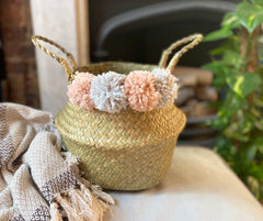 Fluffy Pom Pom Seagrass Belly Baskets Boho