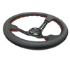 NRG Reinforced Steering Wheel (350mm / 3in. Deep) Black Leather/Red Stitch & Blk 3-Spoke w/Slits