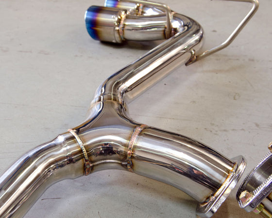 Agency Power Subaru 08+ STi/11+ WRX Stainless Steel Titanium Tip C/B Exhaust w/o Muffler *FITS HATCHBACK ONLY*