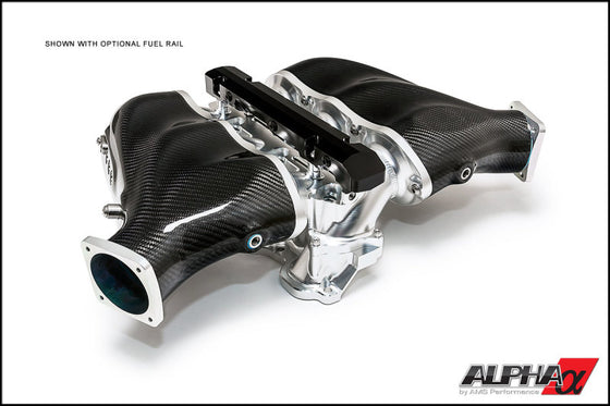 AMS Performance 2009+ Nissan GT-R Alpha Carbon Fiber/Billet Intake Manifold w/Std Fuel Rail - Clear