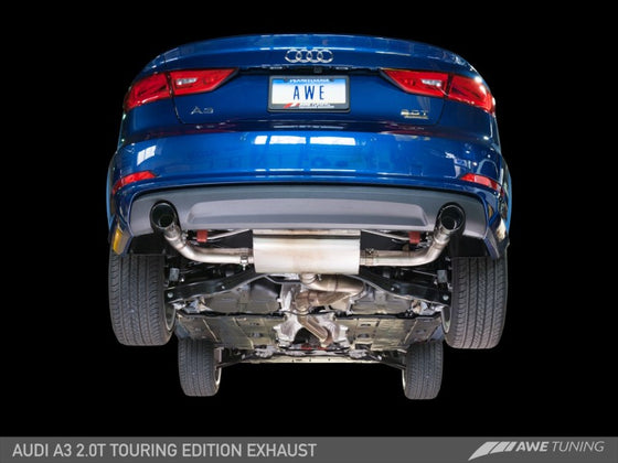AWE Tuning Audi 8V A3 Touring Edition Exhaust - Dual Outlet Chrome Silver 90 mm Tips