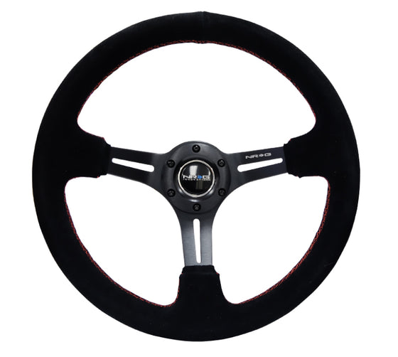 NRG Reinforced Steering Wheel (350mm / 3in. Deep) Blk Suede w/Red Stitching & 5mm Spokes w/Slits