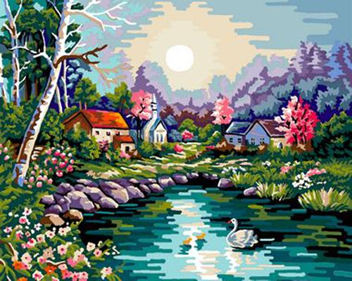 Landscape Village Paint By Numbers Kits ZXB06-30