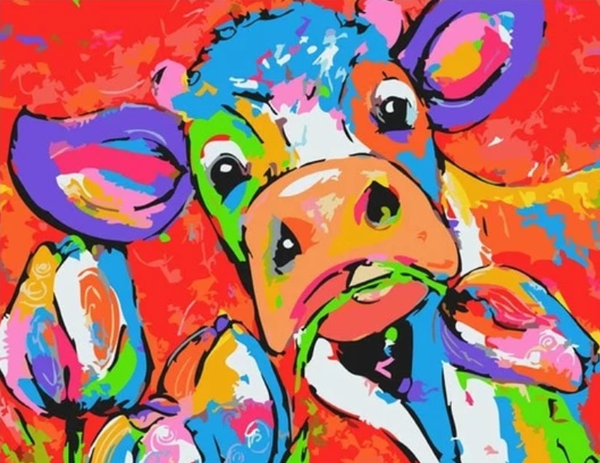 Colorful Cow Diy Paint By Numbers Kits PBN95517