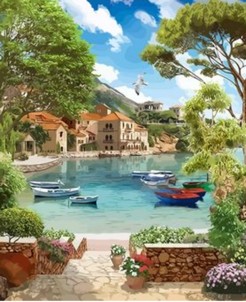 Landscape Seaside Town Diy Paint By Numbers Kits ZXQ2725