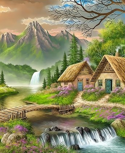 Landscape Cottage Diy Paint By Numbers Kits ZXQ3337