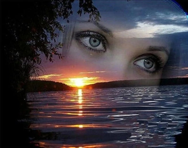 Nature Sunset Lake Eyes Diy Paint By Numbers Kits VM00035