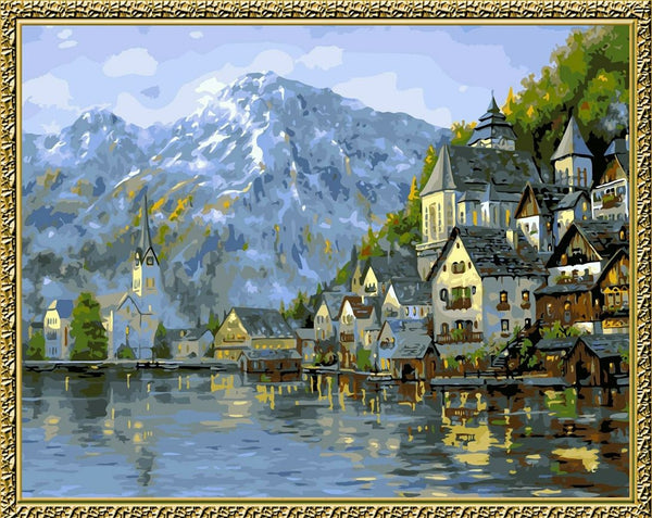 Landscape Mountain Lake Castle Diy Paint By Numbers Kits YM-4050-104