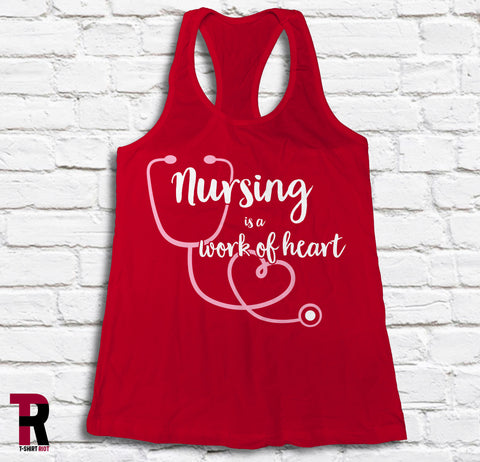 "Image of ""Nursing Is A Work Of Heart"" BELLA+CANVAS Women's Racerback Tank Top"