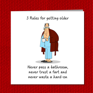 Funny 40th 50th 60th Birthday Card for Dad, boyfriend, husband or any male friend -  Funny, humorous, fun card - Rude naughty adult