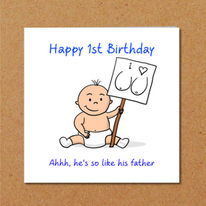 First Birthday Card 1st 2nd Birthday - One or Two year old - Funny Amusing Humour Humorous