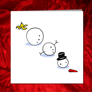 Funny Christmas Card - snowman joke -  for family, kids, children, teacher, family -  amusing cartoon humorous snow