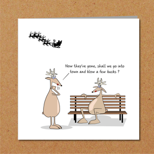 Rude Christmas Card for family or friends - sexy, adult and naughty reindeer - humorous amusing