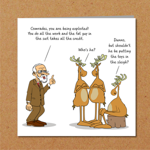 Funny Jeremy Corbyn Christmas Card - Reindeer Strike - Labour Party, Political, Jezza - Fun, Humorous, Cartoon