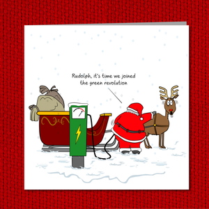 Funny Christmas Card - Santa goes green / sustainable / environmentally friendly with electric charging - amusing humorous card