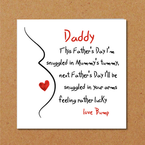Father's Day Card for new Dad/ partner from bump / unborn baby from Mom Mum Mummy hand drawn happy daddy papa