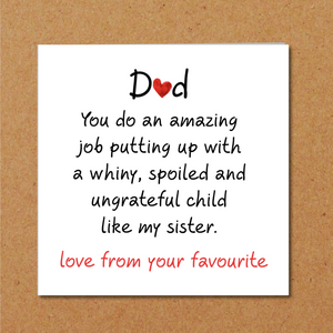 humorous fathers day card brother sister