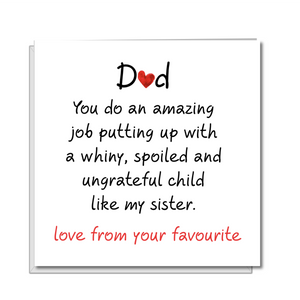 funny fathers day card brother sister