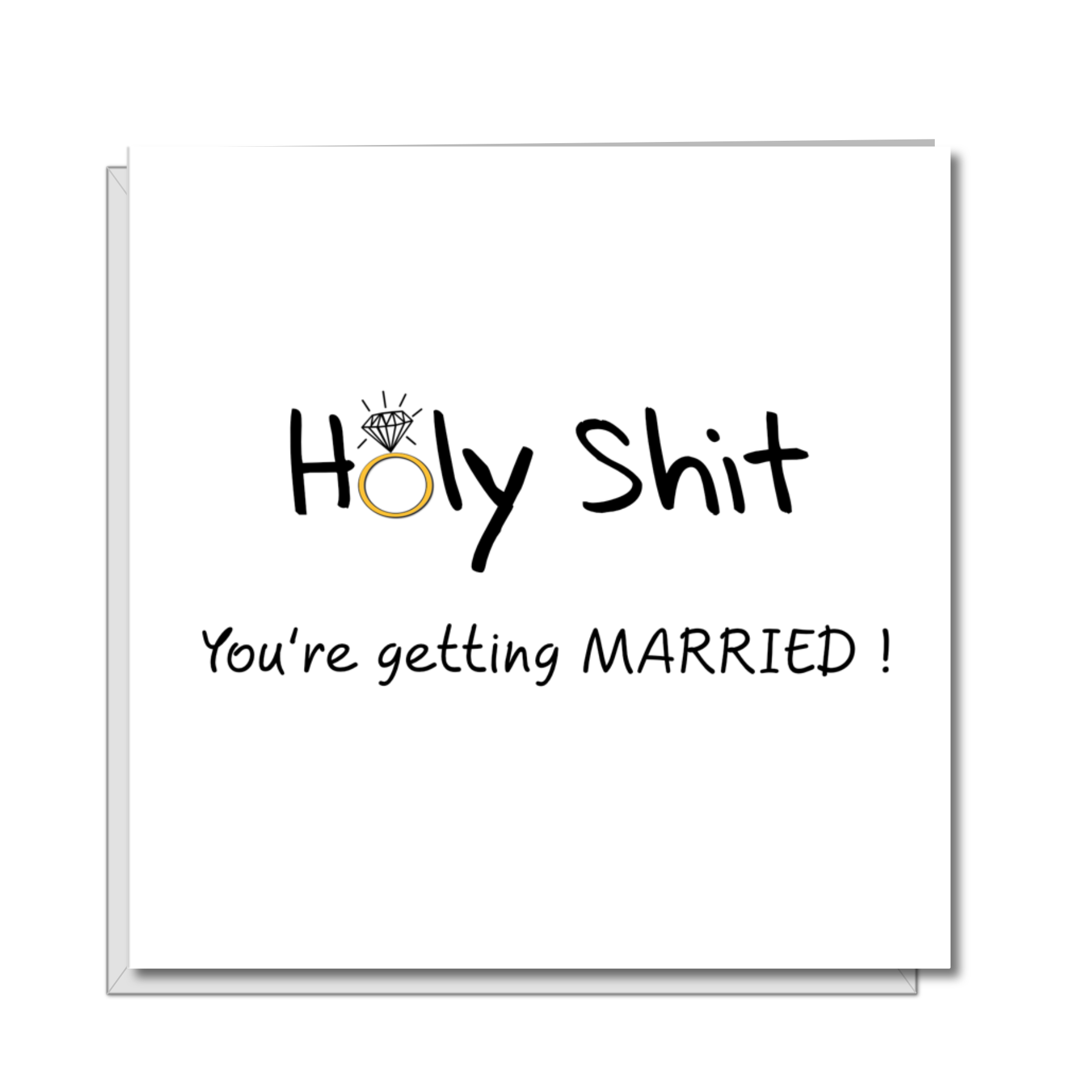 Congratulations GETTING MARRIED card -  Holy Shit Engagement for bride or groom - Funny Humorous  crude