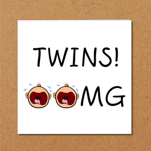 funny twins congratulations card