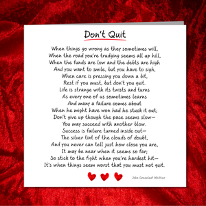 Don't Quit Card - Good Luck, Tough Times Difficult Problems Lost Job Divorce Commiserations Friendship Hard Times Poem